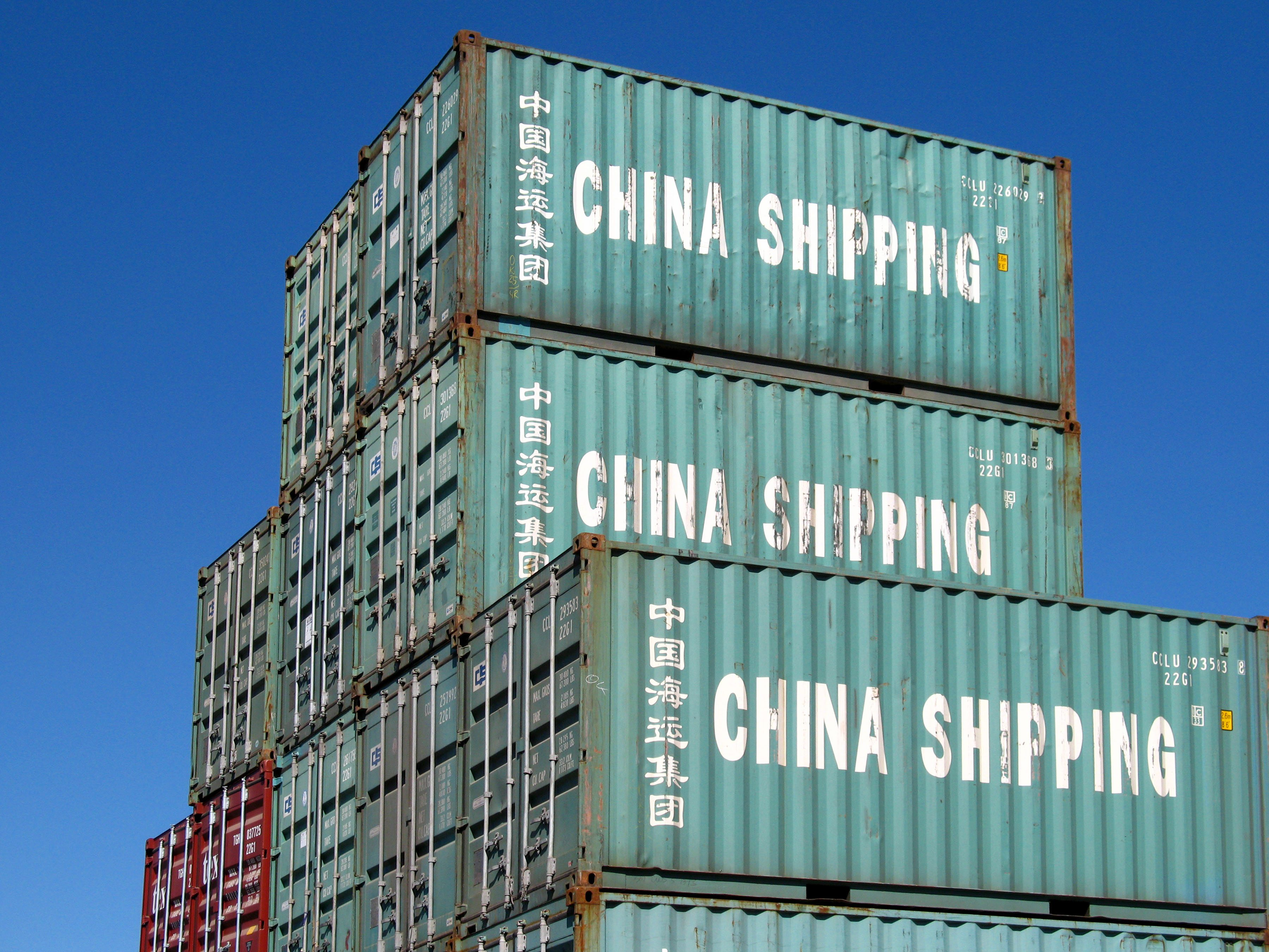 some green shipping container from china