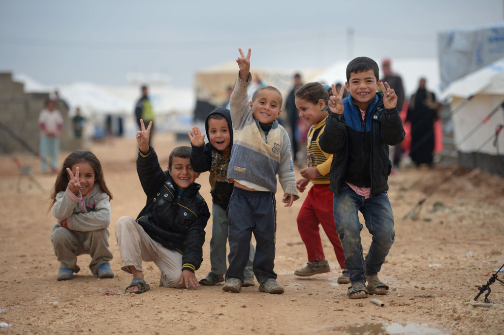 happy Syrian refugee children